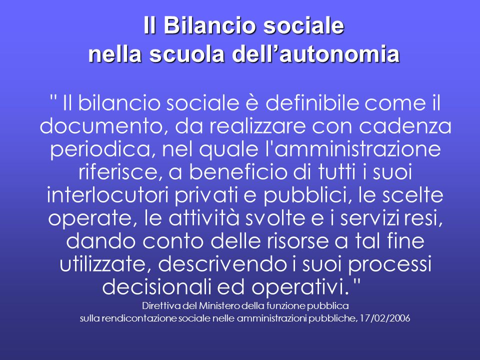 Il Bilancio sociale nella scuola dell'autonomia