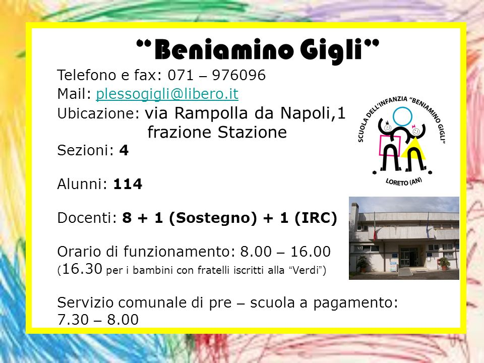 Beniamino Gigli frazione Stazione Telefono e fax: 071 – 976096