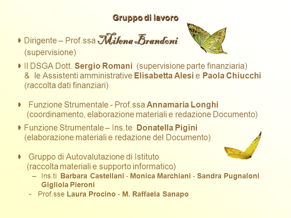  Dirigente – Prof.ssa Milena Brandoni (supervisione)