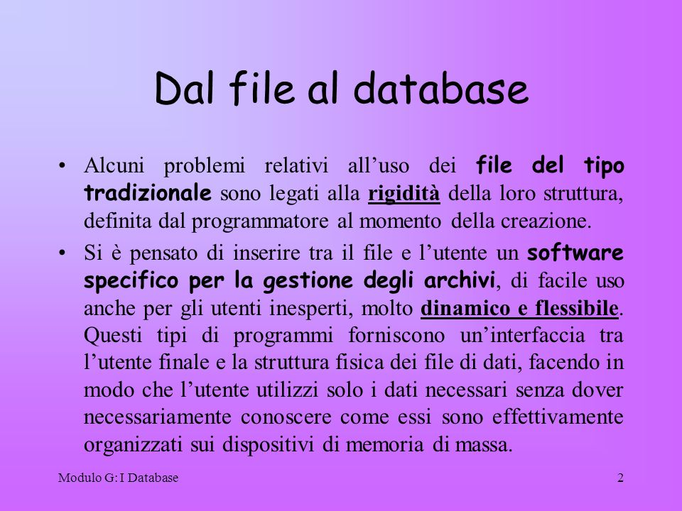 Dal file al database