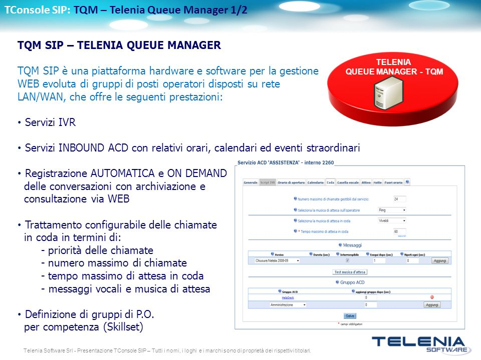 TConsole SIP: TQM – Telenia Queue Manager 1/2