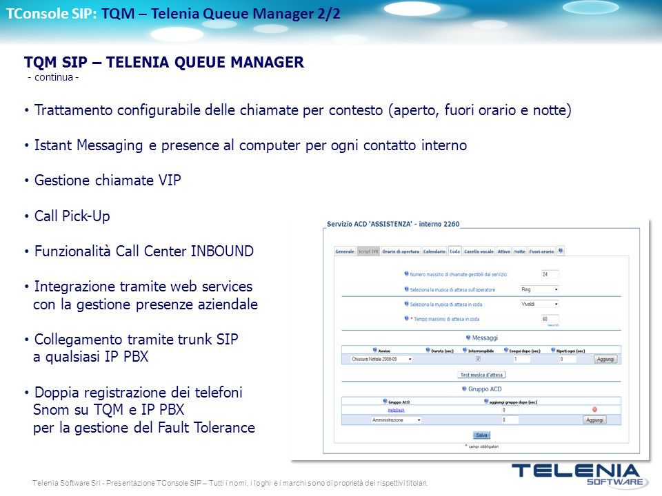 TConsole SIP: TQM – Telenia Queue Manager 2/2