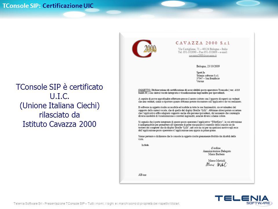 TConsole SIP: Certificazione UIC