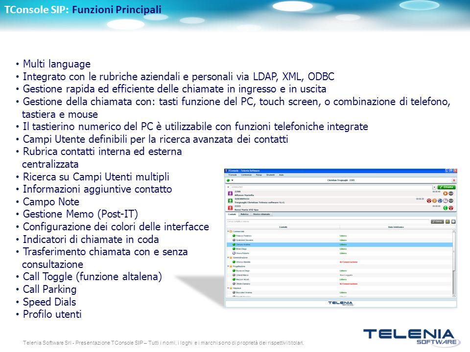 TConsole SIP: Funzioni Principali