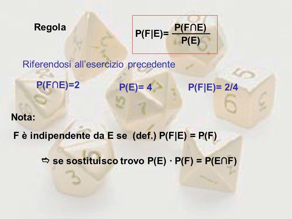 Regola _______. P(F∩E) P(F|E)= P(E) Riferendosi all'esercizio precedente. P(F∩E)=2. P(E)= 4. P(F|E)= 2/4.