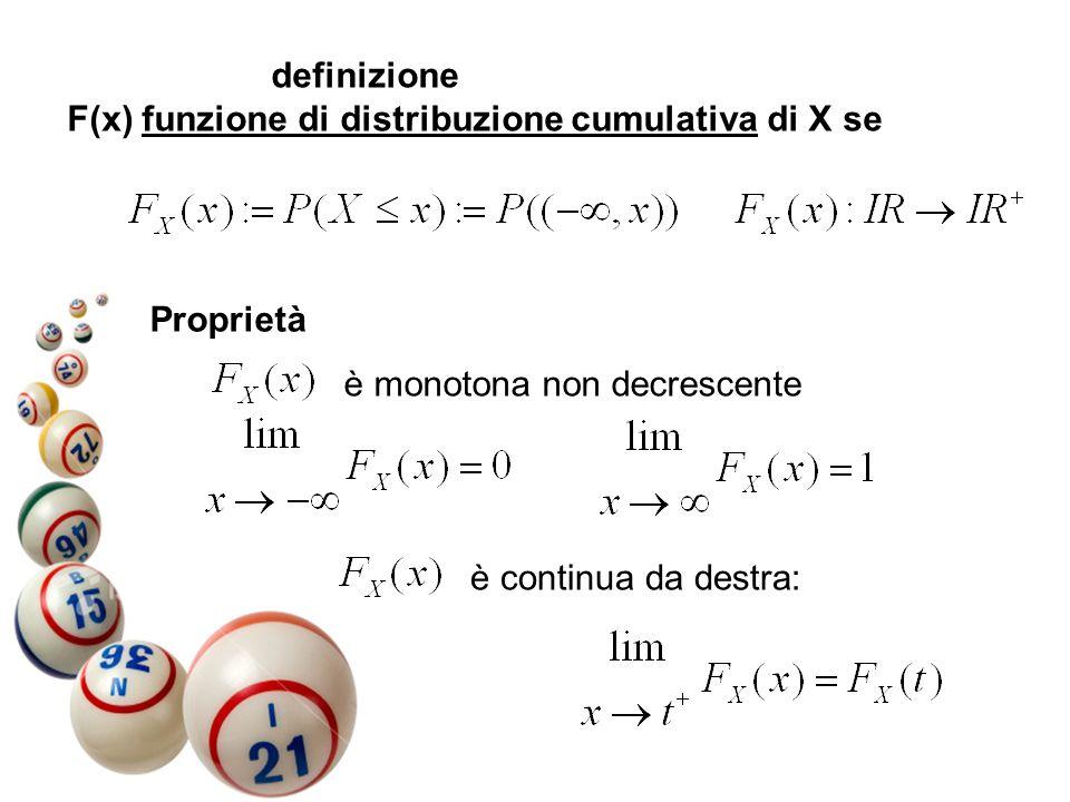 definizione F(x) funzione di distribuzione cumulativa di X se. Proprietà. è monotona non decrescente.