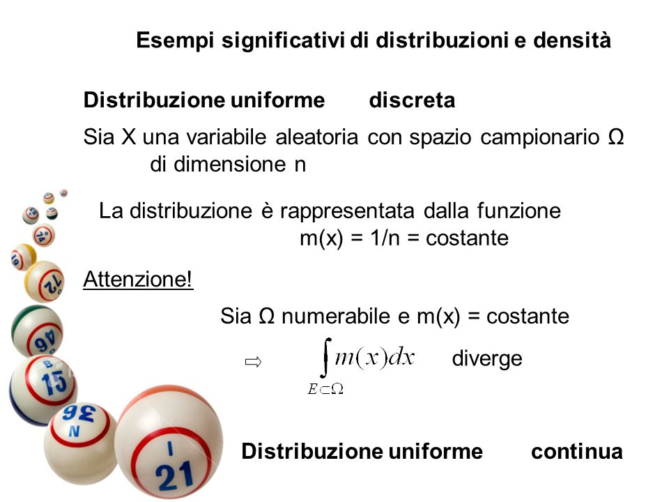 Esempi significativi di distribuzioni e densità