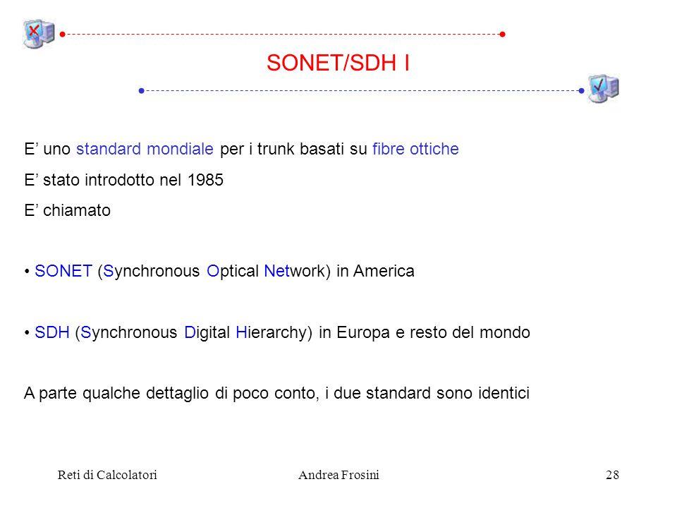 SONET/SDH I E' uno standard mondiale per i trunk basati su fibre ottiche. E' stato introdotto nel 1985.