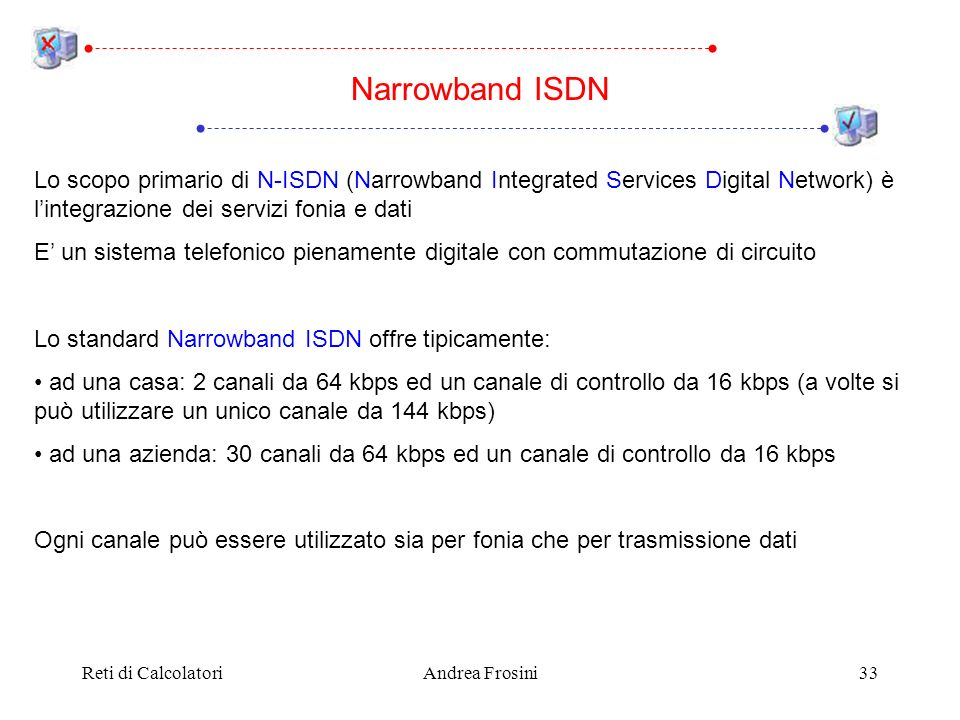 Narrowband ISDN Lo scopo primario di N-ISDN (Narrowband Integrated Services Digital Network) è l'integrazione dei servizi fonia e dati.