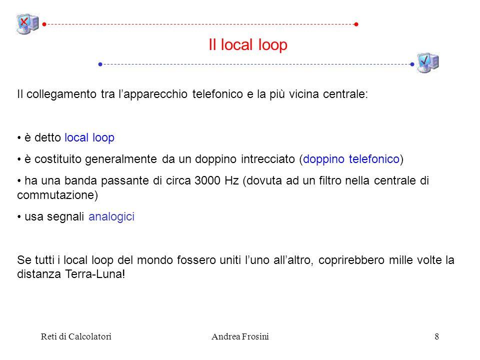 Il local loop Il collegamento tra l'apparecchio telefonico e la più vicina centrale: • è detto local loop.