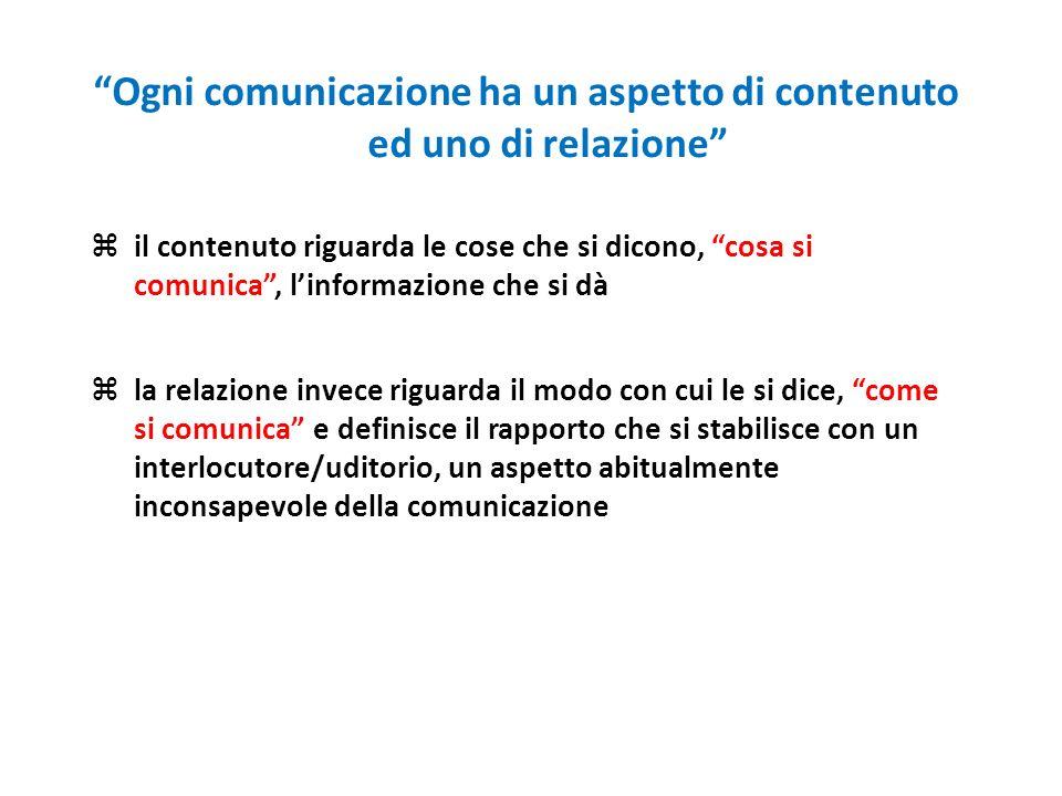 Ogni comunicazione ha un aspetto di contenuto ed uno di relazione