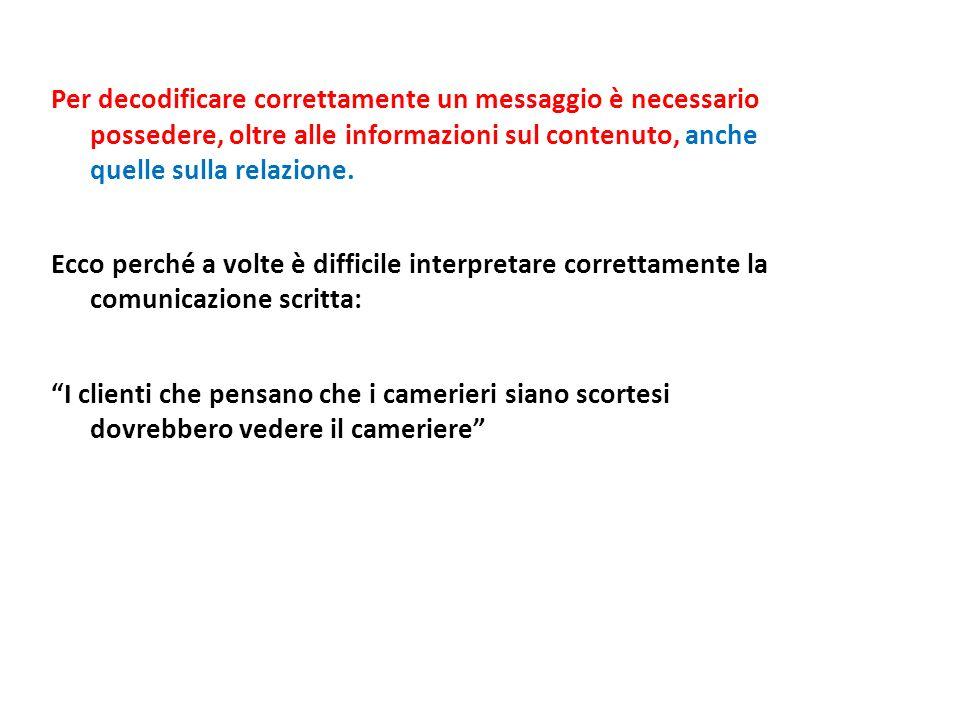Per decodificare correttamente un messaggio è necessario possedere, oltre alle informazioni sul contenuto, anche quelle sulla relazione.
