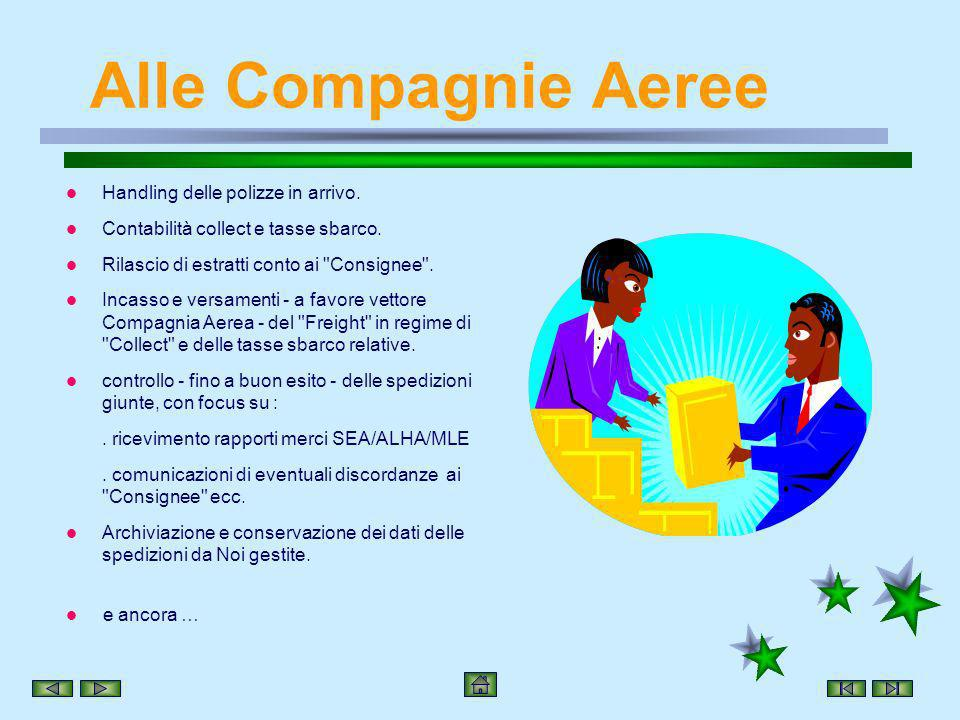 Alle Compagnie Aeree Handling delle polizze in arrivo.