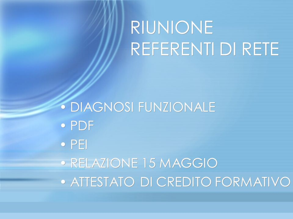 RIUNIONE REFERENTI DI RETE