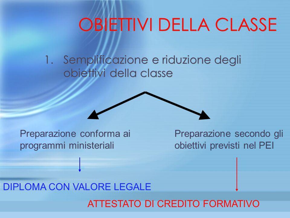 OBIETTIVI DELLA CLASSE