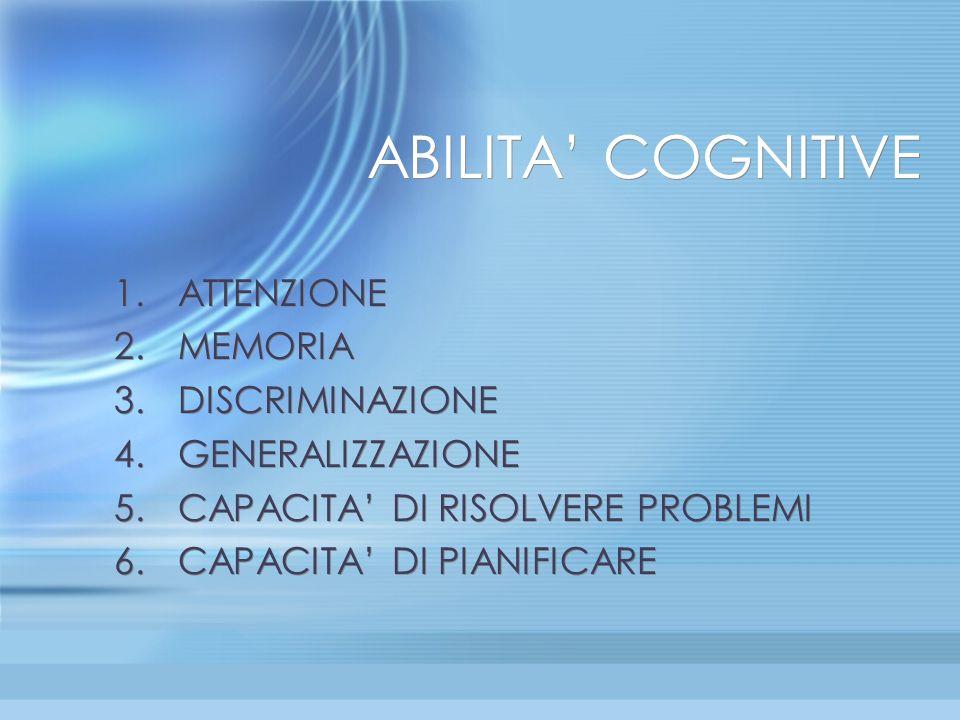 ABILITA' COGNITIVE ATTENZIONE MEMORIA DISCRIMINAZIONE GENERALIZZAZIONE