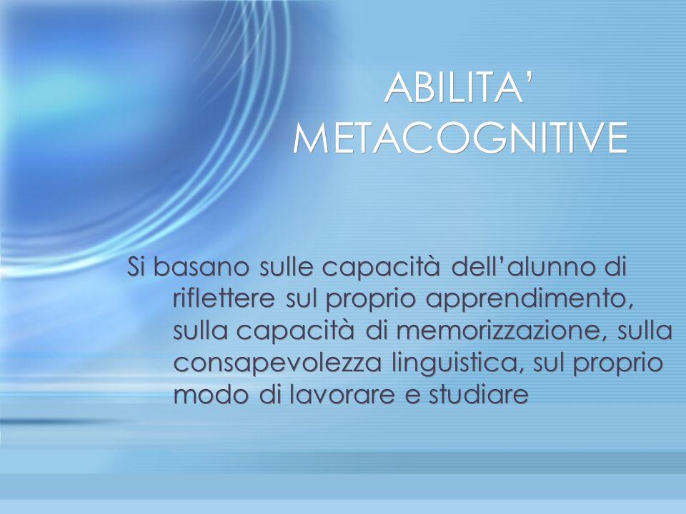 ABILITA' METACOGNITIVE