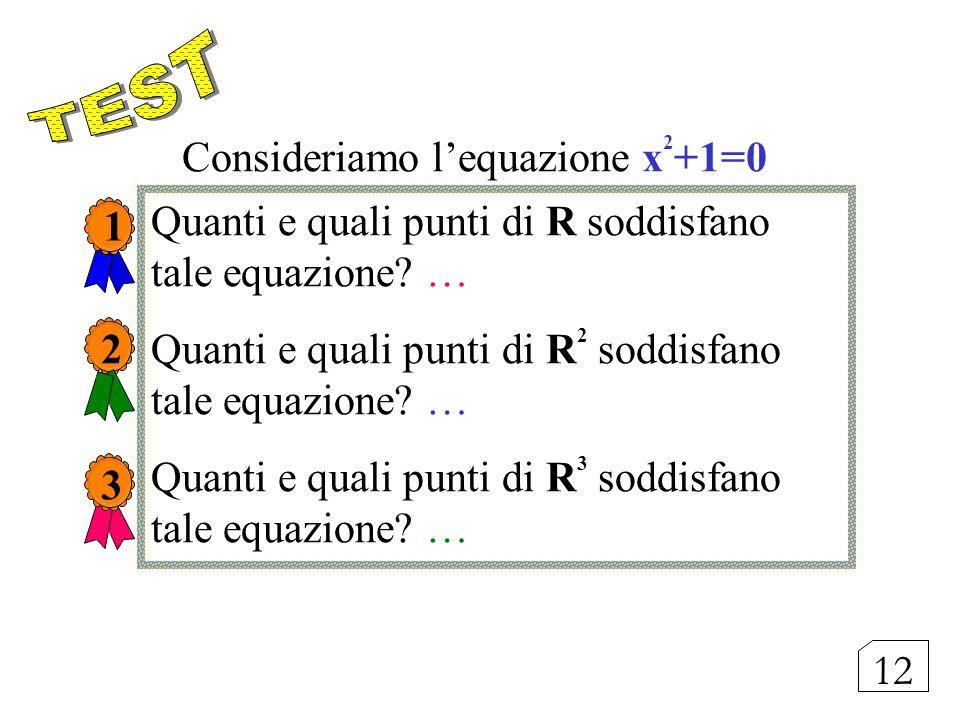 Consideriamo l'equazione x2+1=0