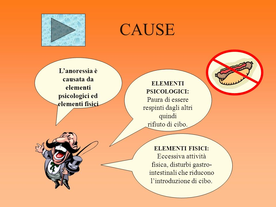 CAUSE L'anoressia è causata da elementi psicologici ed elementi fisici