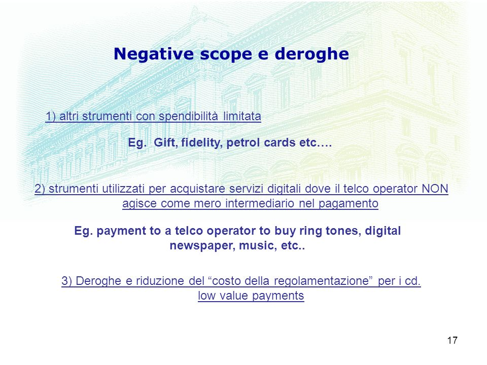 Negative scope e deroghe Eg. Gift, fidelity, petrol cards etc….