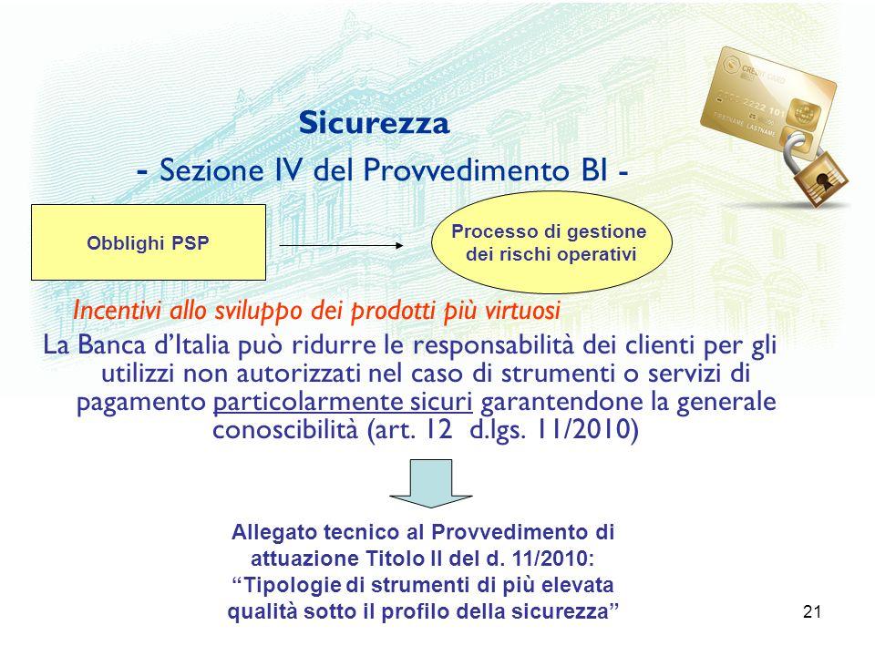 Sicurezza - Sezione IV del Provvedimento BI -