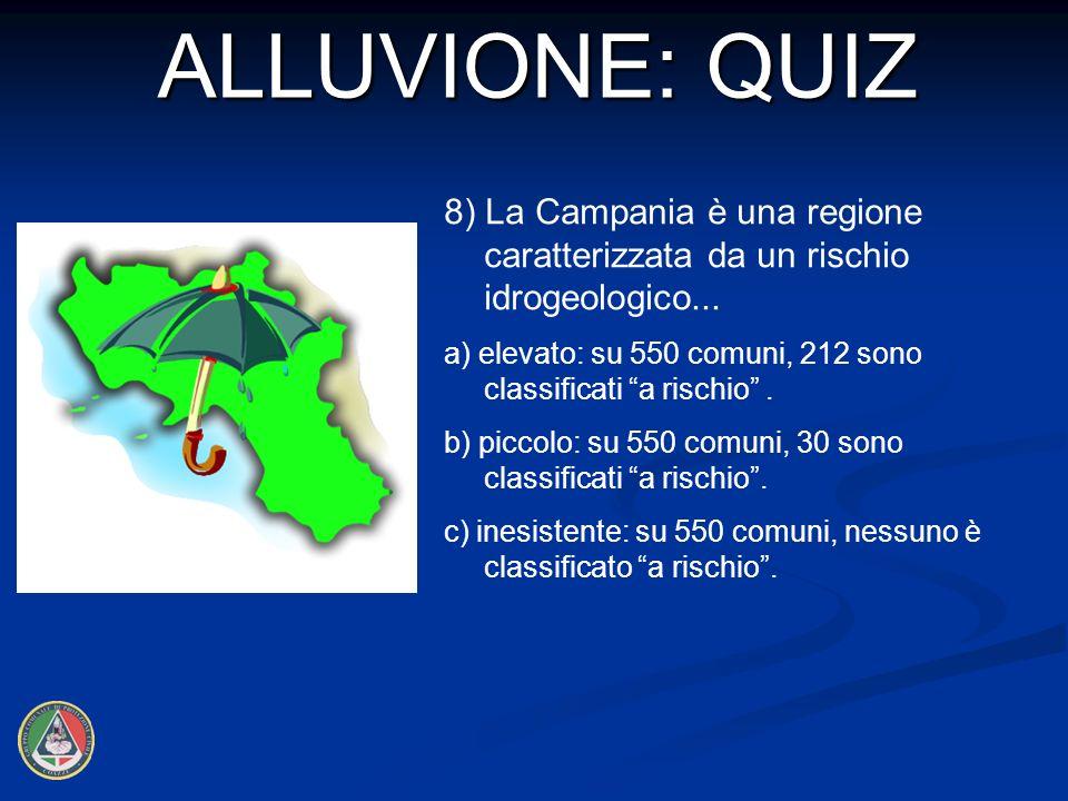 ALLUVIONE: QUIZ 8) La Campania è una regione caratterizzata da un rischio idrogeologico...