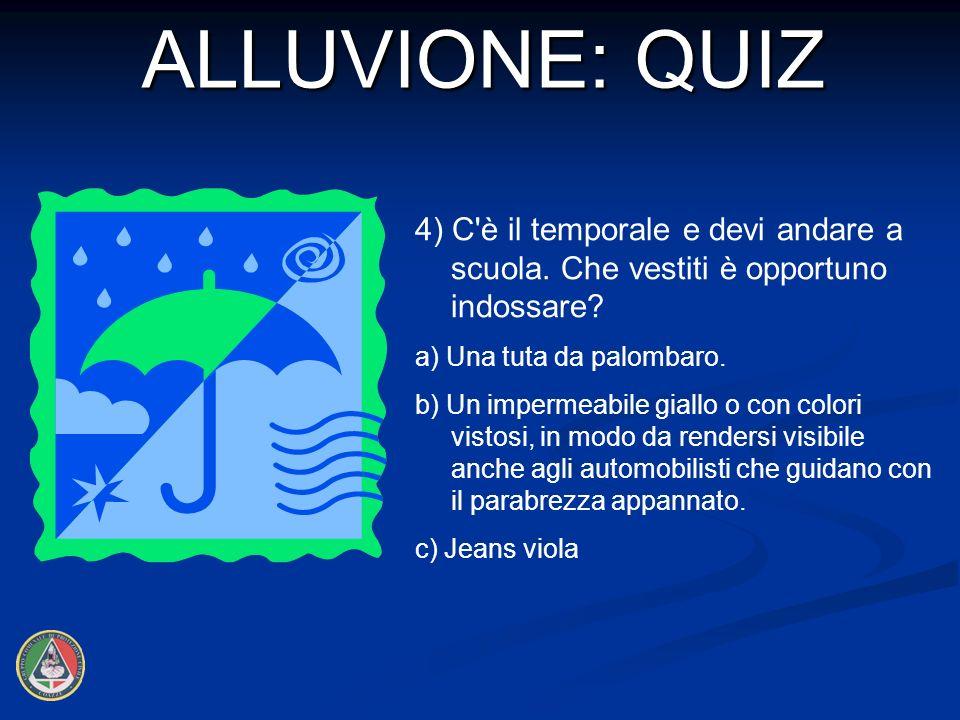 ALLUVIONE: QUIZ 4) C è il temporale e devi andare a scuola. Che vestiti è opportuno indossare a) Una tuta da palombaro.