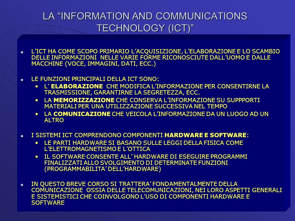 LA INFORMATION AND COMMUNICATIONS TECHNOLOGY (ICT)