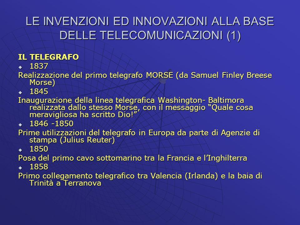 LE INVENZIONI ED INNOVAZIONI ALLA BASE DELLE TELECOMUNICAZIONI (1)