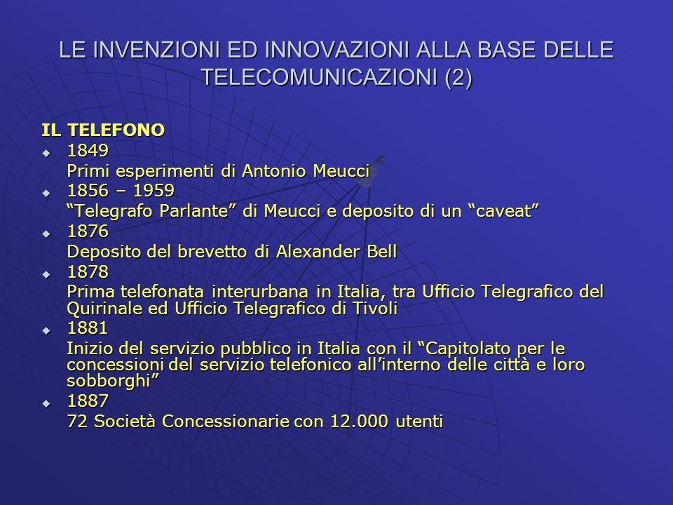 LE INVENZIONI ED INNOVAZIONI ALLA BASE DELLE TELECOMUNICAZIONI (2)