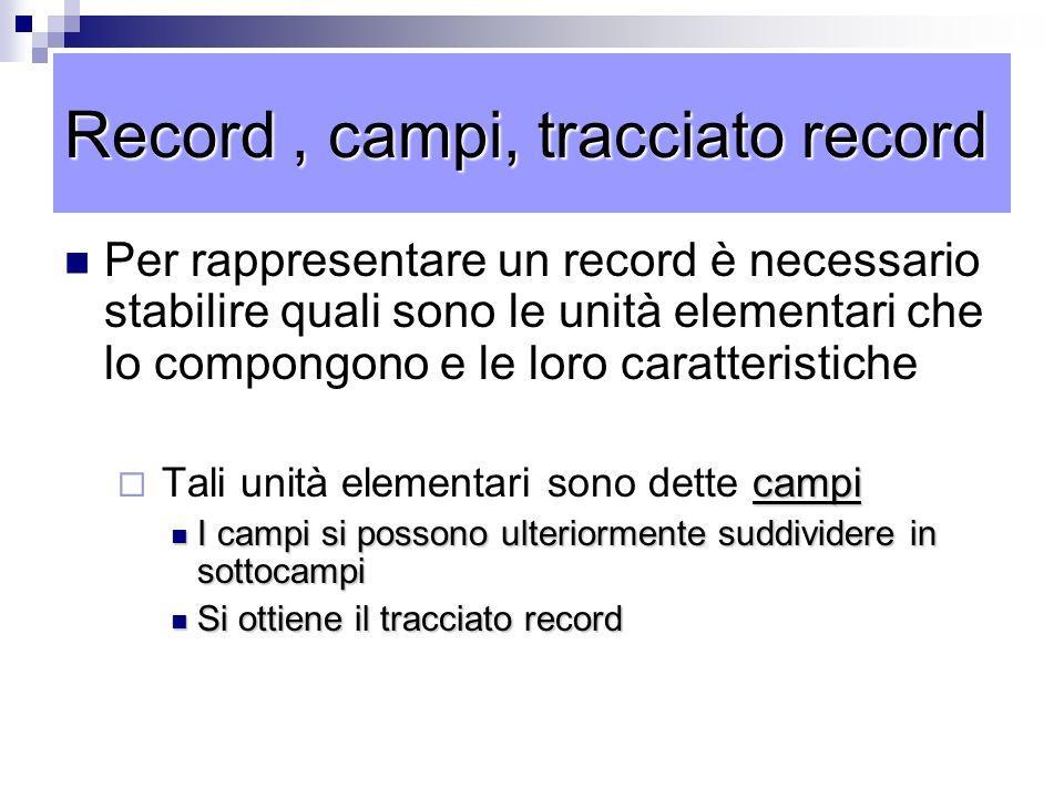 Record , campi, tracciato record