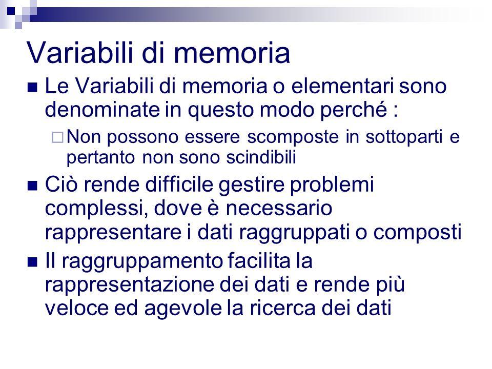 Variabili di memoria Le Variabili di memoria o elementari sono denominate in questo modo perché :