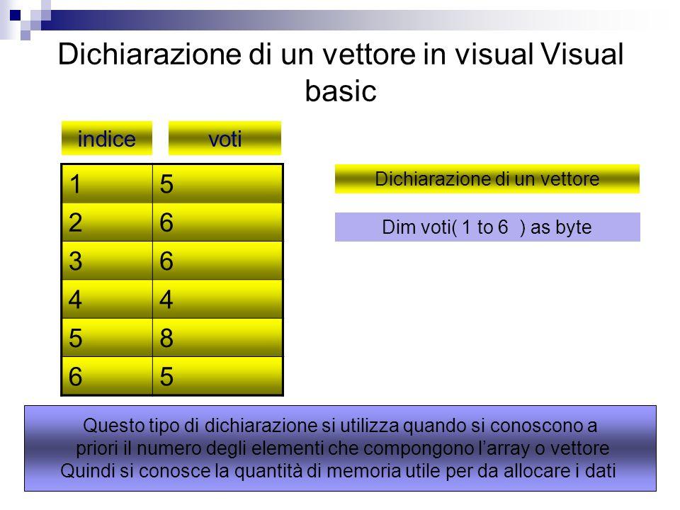 Dichiarazione di un vettore in visual Visual basic