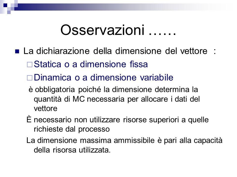 Osservazioni …… La dichiarazione della dimensione del vettore :