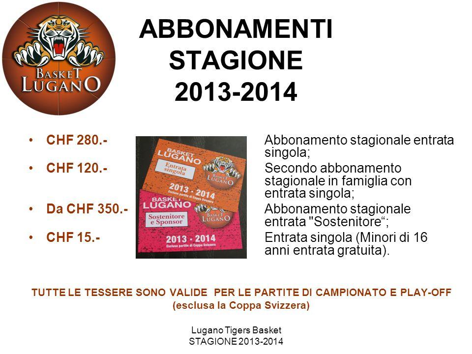 ABBONAMENTI STAGIONE 2013-2014