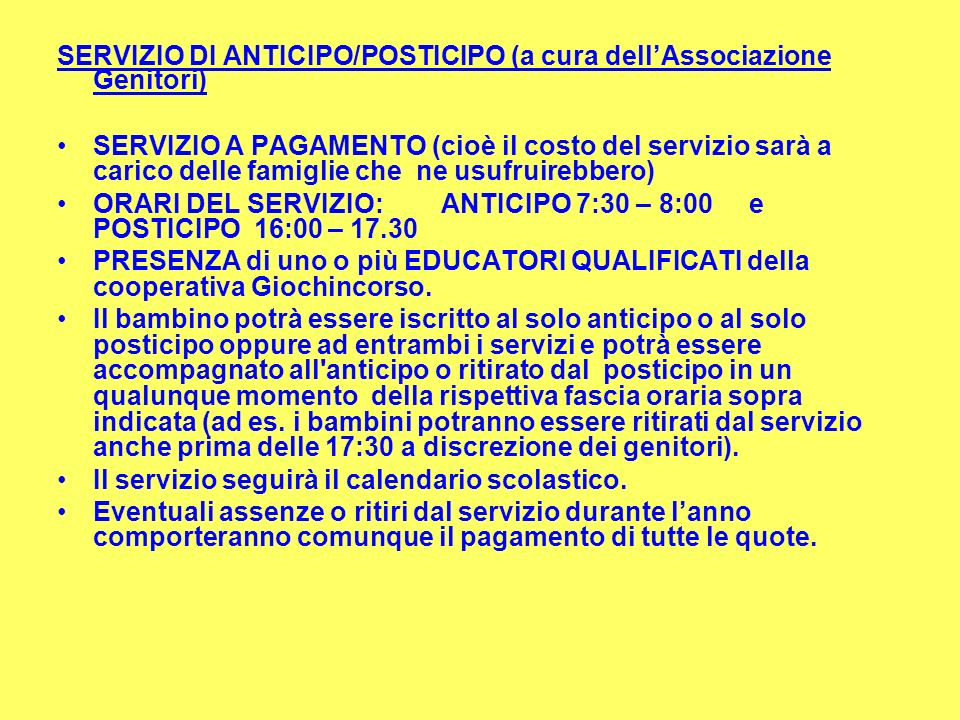SERVIZIO DI ANTICIPO/POSTICIPO (a cura dell'Associazione Genitori)
