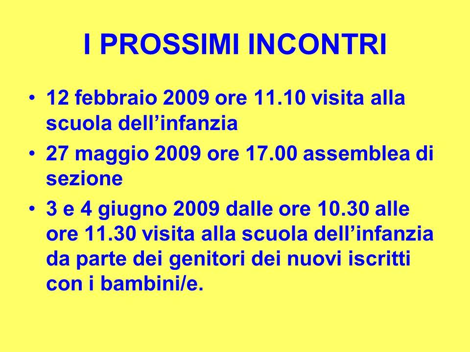 I PROSSIMI INCONTRI 12 febbraio 2009 ore 11.10 visita alla scuola dell'infanzia. 27 maggio 2009 ore 17.00 assemblea di sezione.
