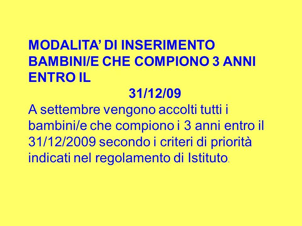 MODALITA' DI INSERIMENTO BAMBINI/E CHE COMPIONO 3 ANNI ENTRO IL