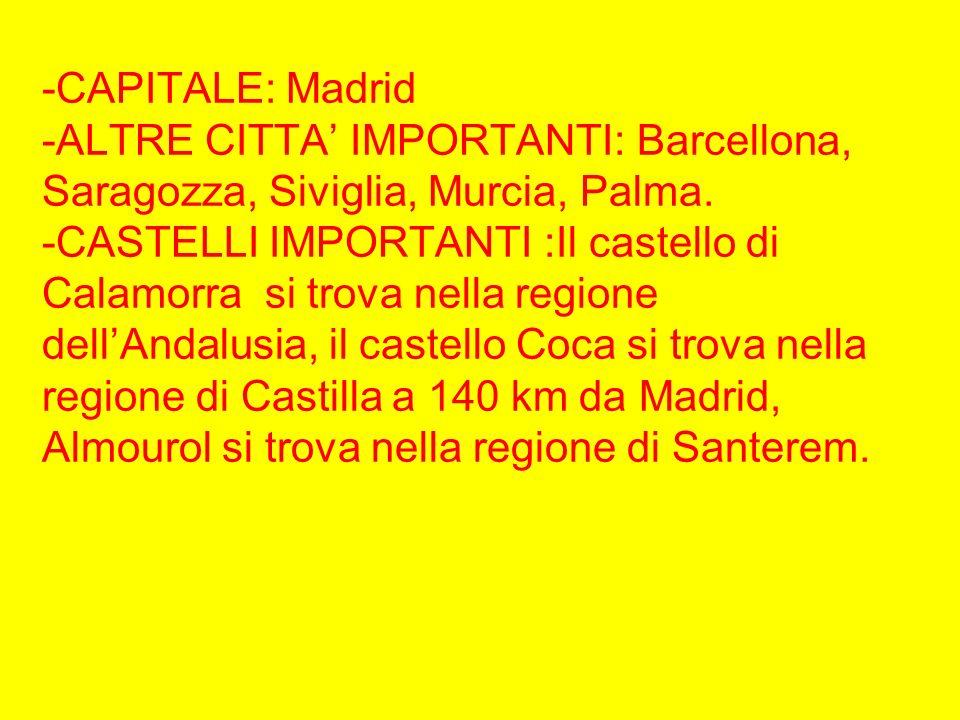 -CAPITALE: Madrid -ALTRE CITTA' IMPORTANTI: Barcellona, Saragozza, Siviglia, Murcia, Palma.