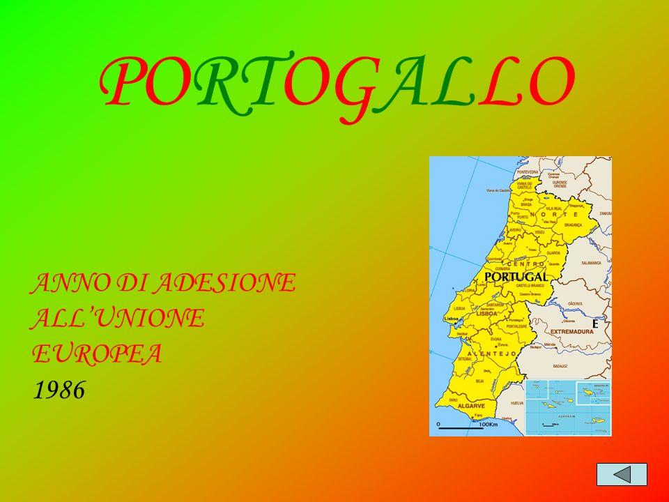 PORTOGALLO ANNO DI ADESIONE ALL'UNIONE EUROPEA 1986