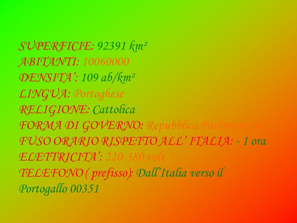 SUPERFICIE: 92391 km² ABITANTI: 10060000. DENSITA': 109 ab/km². LINGUA: Portoghese. RELIGIONE: Cattolica.