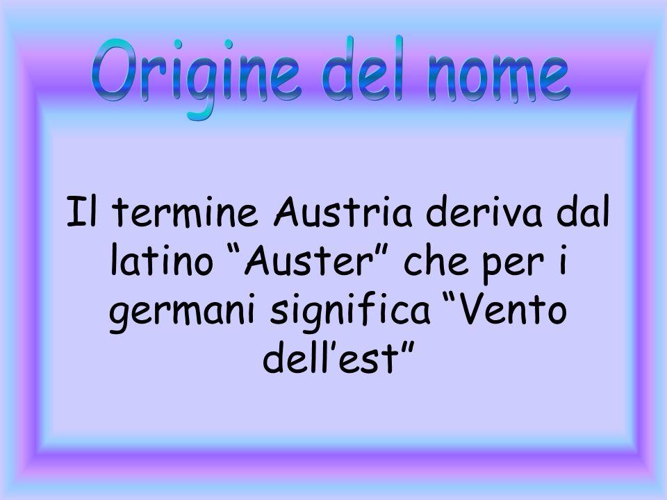 Origine del nome Il termine Austria deriva dal latino Auster che per i germani significa Vento dell'est
