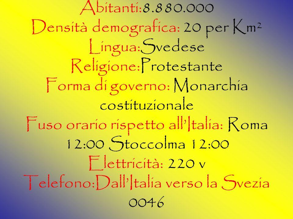 Abitanti:8.880.000 Densità demografica: 20 per Km² Lingua:Svedese Religione:Protestante Forma di governo: Monarchia costituzionale Fuso orario rispetto all'Italia: Roma 12:00 Stoccolma 12:00 Elettricità: 220 v Telefono:Dall'Italia verso la Svezia 0046
