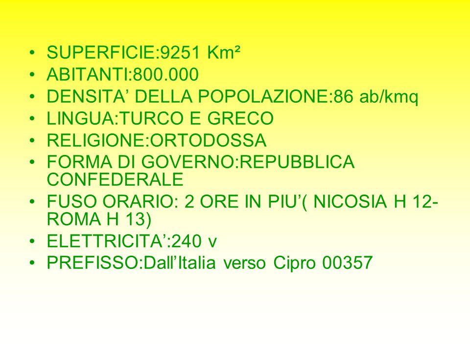 SUPERFICIE:9251 Km² ABITANTI:800.000. DENSITA' DELLA POPOLAZIONE:86 ab/kmq. LINGUA:TURCO E GRECO.