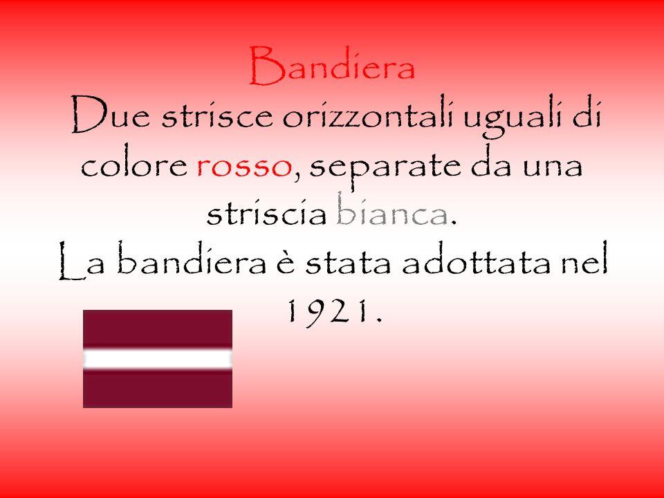 Bandiera Due strisce orizzontali uguali di colore rosso, separate da una striscia bianca.
