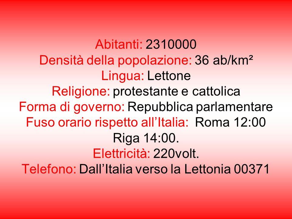 Abitanti: 2310000 Densità della popolazione: 36 ab/km² Lingua: Lettone Religione: protestante e cattolica Forma di governo: Repubblica parlamentare Fuso orario rispetto all'Italia: Roma 12:00 Riga 14:00.