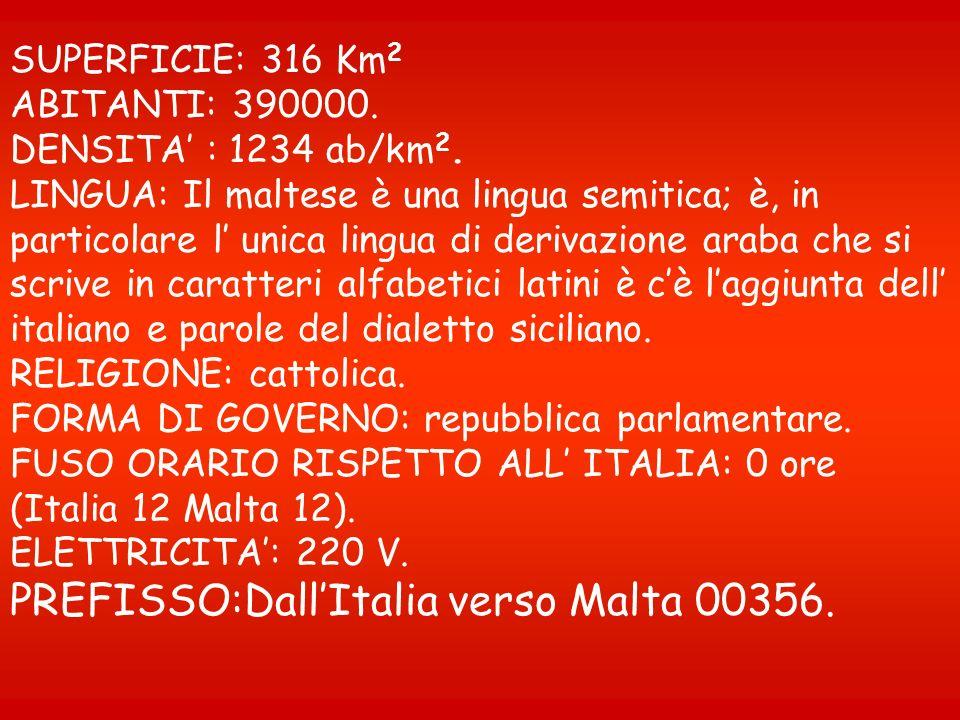 PREFISSO:Dall'Italia verso Malta 00356.