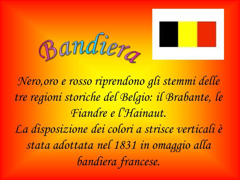 BandieraNero,oro e rosso riprendono gli stemmi delle tre regioni storiche del Belgio: il Brabante, le Fiandre e l'Hainaut.