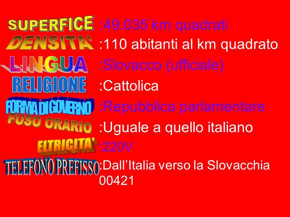 :110 abitanti al km quadrato :Slovacco (ufficiale) :Cattolica