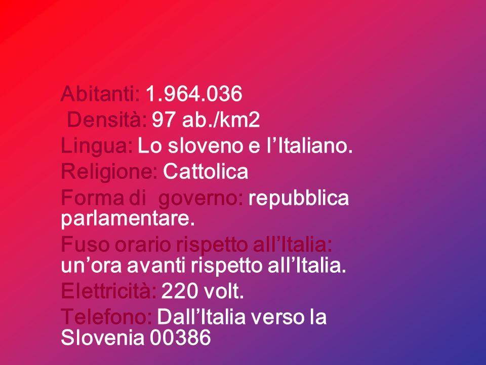 Abitanti: 1.964.036 Densità: 97 ab./km2. Lingua: Lo sloveno e l'Italiano. Religione: Cattolica. Forma di governo: repubblica parlamentare.